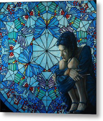 The Blue Caterpillar From Alice In Wonderland Metal Print by Jose Luis Munoz Luque
