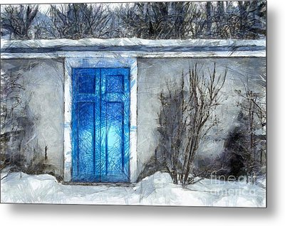 The Blue Door Beckons Pencil Metal Print by Edward Fielding