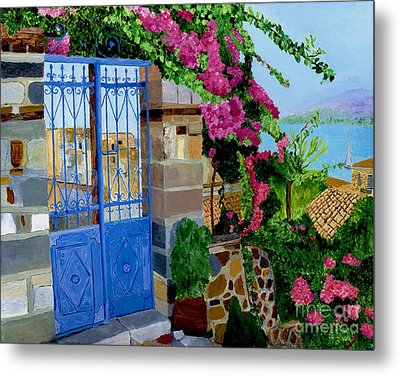 Metal Print featuring the painting The Blue Gate  by Rodney Campbell