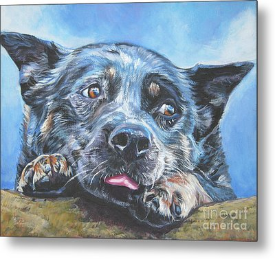 Metal Print featuring the painting The Blue Heeler by Lee Ann Shepard