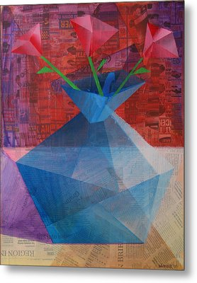 Metal Print featuring the painting The Blue Rose Vase - Mixed Media by Mark Webster