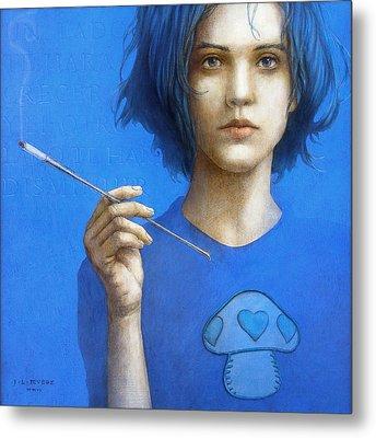 The Blue Smoker Caterpillar From Alice In Wonderland Metal Print by Jose Luis Munoz Luque