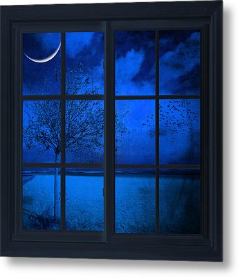 Metal Print featuring the photograph The Blue Window by Philippe Sainte-Laudy