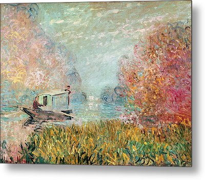The Boat Studio On The Seine Metal Print by Claude Monet