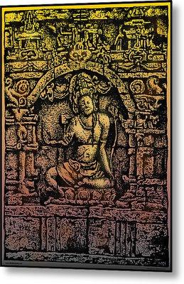The Bodhisattva Samantabhadra Borobudur Java Metal Print by Larry Butterworth