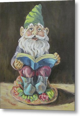 The Book Gnome Metal Print by Cheryl Pass