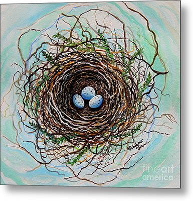 The Botanical Bird Nest Metal Print