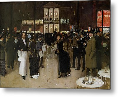 The Boulevard At Night Metal Print by Jean Beraud