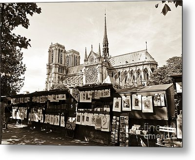 The Bouquinistes And Notre-dame Cathedral Metal Print by Perry Van Munster