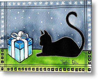 The Box Is Mine - Christmas Cat Metal Print