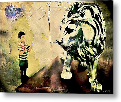 The Boy And The Lion Graffiti Creator,street-art Graffiti,street-art,graffiti Art Street,banksy Art, Metal Print