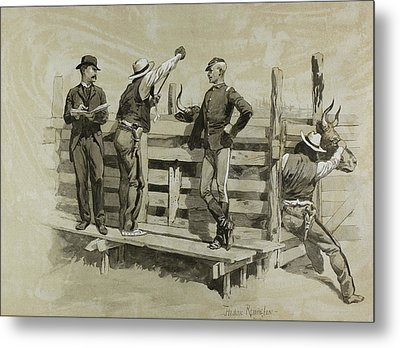 The Branding Chute Metal Print by Frederic Remington