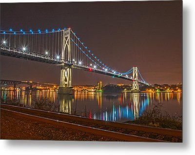 The Bridge With Blue Holiday Lights Metal Print by Angelo Marcialis