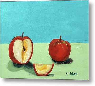 The Brilliant Red Apples With Wedge Metal Print