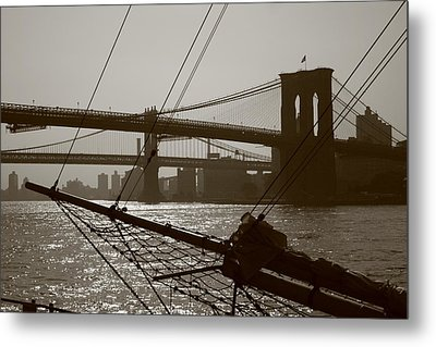 The Brooklyn And Manhattan Bridges Metal Print by Christopher Kirby