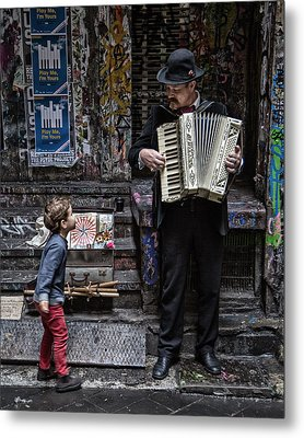The Busker And The Boy Metal Print by Vince Russell