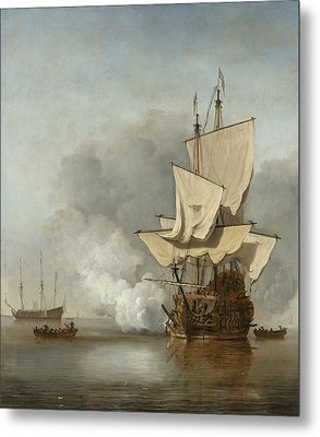 The Cannon Shot Metal Print by Willem Van De Velde The Younger