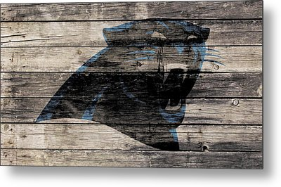 The Carolina Panthers Wood Art Metal Print