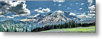 The Cascade Mountains And Mt. Rainier Metal Print