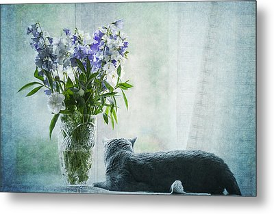The Cat And The Vase Metal Print