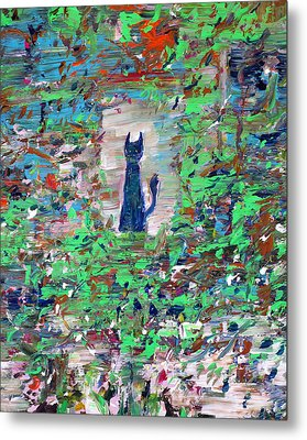Metal Print featuring the painting The Cat In The Garden by Fabrizio Cassetta