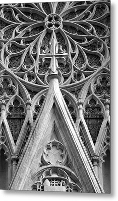 The Cathedral Of St. Patrick Close Up Metal Print by Michael Dorn