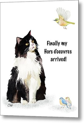 Metal Print featuring the painting The Cat's Hors D'oeuvres by Colleen Taylor