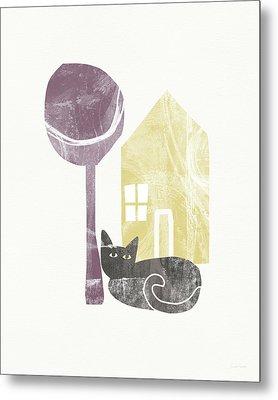 The Cat's House- Art By Linda Woods Metal Print