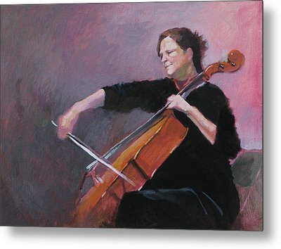 The Cellist Metal Print by Robert Bissett