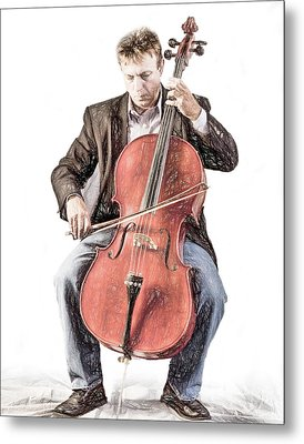 Metal Print featuring the photograph The Cello Player In Sketch by David and Carol Kelly