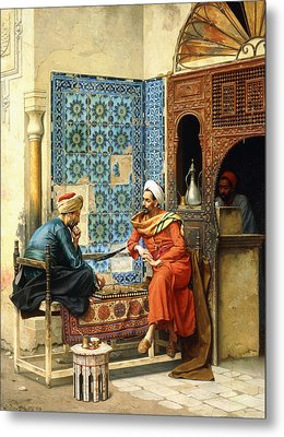 The Chess Game Metal Print by Ludwig Deutsch
