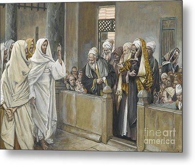 The Chief Priests Ask Jesus By What Right Does He Act In This Way Metal Print by James Jacques Joseph Tissot