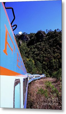 The Chihuahua-pacific Railway Travelling Through The Copper Canyon Metal Print by Sami Sarkis