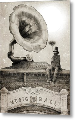 The Chimney Sweep Monochrome Metal Print by Eric Fan
