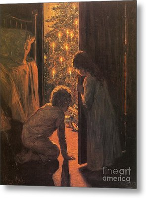 The Christmas Tree Metal Print by Henry Mosler