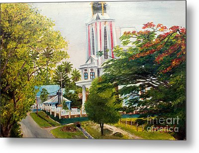 Metal Print featuring the painting The Church In My Village by Jason Sentuf