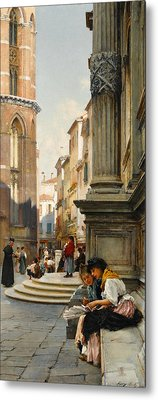 The Church Of The Frari And School Of San Rocco, Venice Metal Print by Henry Woods