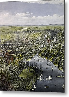 The City Of Baltimore, Circa 1880 Metal Print by Currier and Ives
