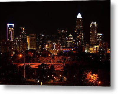 Metal Print featuring the digital art The City Of Charlotte Nc At Night by Chris Flees