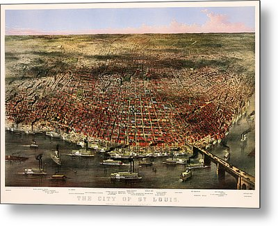 The City Of St Louis 1874 Metal Print by Mountain Dreams