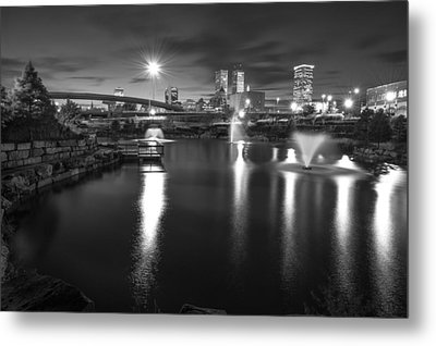 The City Of Tulsa Oklahoma In Black And White Metal Print by Gregory Ballos