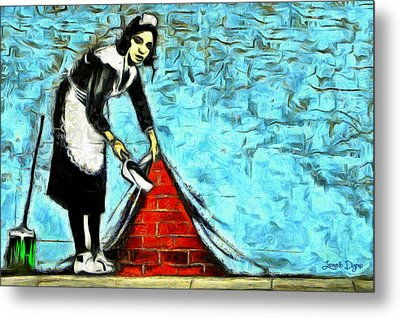 The Cleaner And The Wall - Da Metal Print