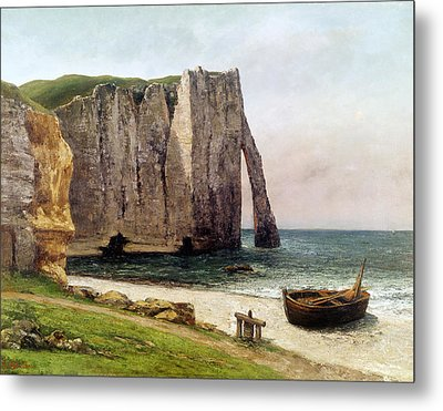 The Cliffs At Etretat Metal Print by Gustave Courbet