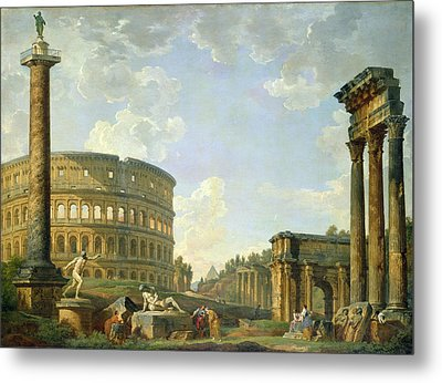 The Colosseum And Other Monuments Metal Print by Giovanni Paolo Panini