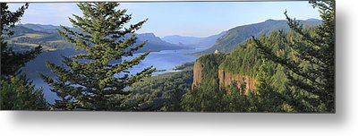 The Columbia River Gorge Vista House Panorama. Metal Print by Gino Rigucci