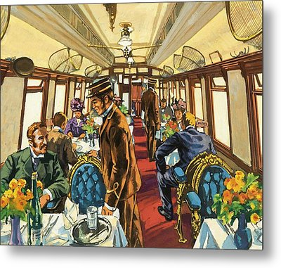 The Comfort Of The Pullman Coach Of A Victorian Passenger Train Metal Print by Harry Green