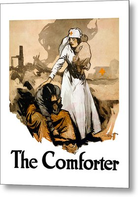 The Comforter - World War One Nurse Metal Print by War Is Hell Store
