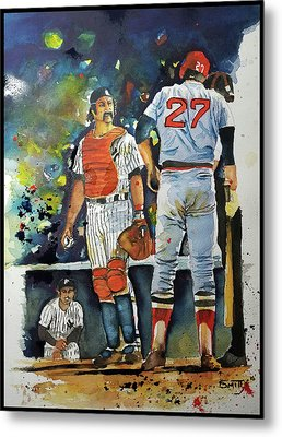 The Conflict At Home Plate Metal Print by Fred Smith