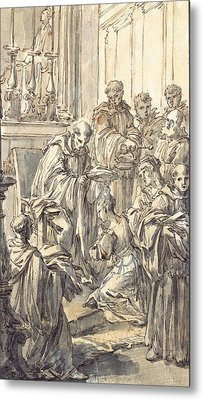 The Consecration Of Saint Juliana Falconieri Metal Print by Pier Leone Ghezzi