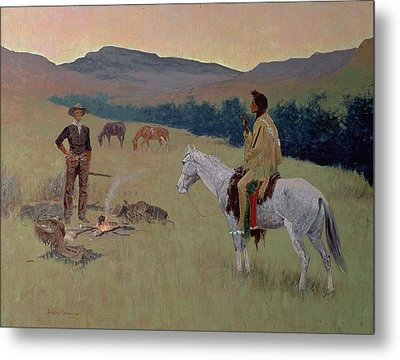 The Conversation Metal Print by Frederic Remington